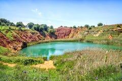 Bauxite Quarry Lake in Otranto, Italy Royalty Free Stock Image