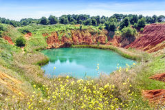 Bauxite Quarry Lake in Otranto, Italy Royalty Free Stock Images