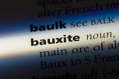 Bauxite. Word in a dictionary.  concept Royalty Free Stock Images
