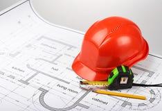 Bauzeichnungen und -werkzeuge Stockfotos