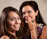 Bavardage attrayant de deux dames Image stock