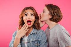 Bavardage choqué de deux amies de femmes Photos libres de droits