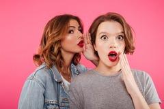 Bavardage choqué de deux amies de femmes Photo stock