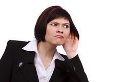 Bavardage de écoute de femme d'affaires Photos libres de droits