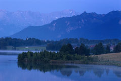 Bavaria. Scenery in the early morning, Riegsee in Upper Bavaria Stock Images