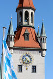 Bavaria. Clock tower in centre of munich Royalty Free Stock Photography