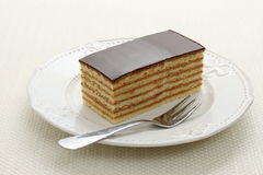 Bavaria cake, layers of biscuit with chocolate Stock Photo