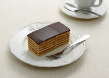 Bavaria cake, layers of biscuit with chocolate Royalty Free Stock Photos