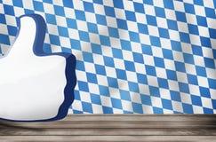 Bavaria flag big thumb like icon 3D render Royalty Free Stock Image