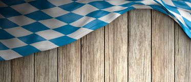 Bavaria flag for Oktoberfest. Wooden background with copyspace. 3d illustration. Invitation to Bavaria for Oktoberfest celebration. Wooden background with royalty free illustration
