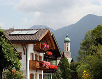 Bavaria/Germany - Church and typical houses with f Stock Photos