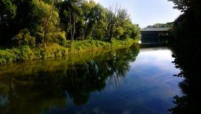 Bavaria, Germany Isar river waterfront and bridge Royalty Free Stock Image