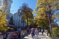 Bavaria, Germany - October 15, 2017:  Tourists walking near Neus Stock Images