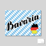 Bavaria hand drawn lettering. Vector lettering illustration. Template for Traditional German Oktoberfest bier festival. Bavaria hand drawn lettering post card Royalty Free Stock Photo