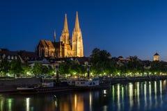 bavaria katedralnego Germany dziedzictwa stary jeden Regensburg miejsca stadtamhof miasteczka świat zdjęcia stock
