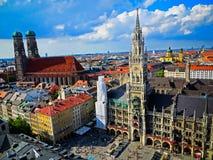 Bavaria - Monachium, Niemcy widok z lotu ptaka Monachium, Marienplatz - Obrazy Stock