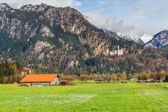 bavaria nedanför sikt för slottgermany neuschwanstein wide Royaltyfri Fotografi