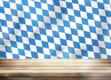 Bavaria Oktoberfest Flag Wooden Table Stock Images