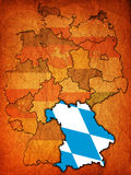 Bavaria and other german provinces(states). Bavaria on old administration map of german provinces (states) with clipping path Royalty Free Stock Photography