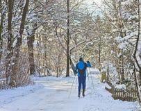 Bavaria, people enjoy cross-country skiing Stock Image