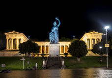 Bavaria statue at Theresenwiese in Munich during night, Germany, Royalty Free Stock Photo