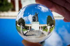 Bavaria Statue Woman Iconic Ruhmeshalle Outdoors Landmark Daytime Old Blue Sky Clouds Travel Tourist Munich Germany Europe Glass. Sphere royalty free stock photography