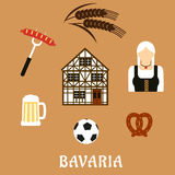 Bavaria travel and objects flat icons Royalty Free Stock Photography