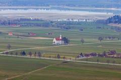 Bavaria. The village Schwangau. Aerial view of the village Schwangau and the lake. Germany. Bavaria Stock Photo