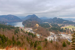Bavaria. The village Schwangau. Aerial view of the village Schwangau and the lake. Germany. Bavaria Stock Images