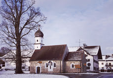 Bavaria in winter, rural chapel with onion dome Stock Images