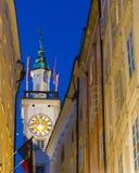 bavaria zegarowego Germany sala dziedzictwa stary jeden Regensburg miejsca stadtamhof wierza miasteczka świat Zdjęcie Royalty Free