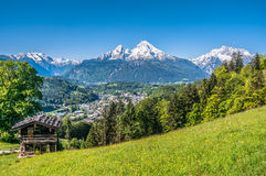 Bavarian Alps with beautiful flowers and Watzmann in springtime, Bavaria, Germany Royalty Free Stock Photography