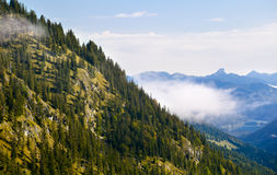 Bavarian Alps with fog Royalty Free Stock Photo