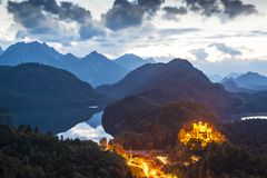 Bavarian Alps. Hohenschangau Castle in the Bavarian Alps of Germany Stock Photos