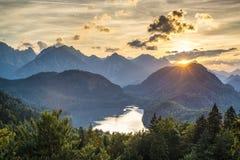 Bavarian Alps. Lake Alpsee in the Bavarian Alps of Germany Stock Photo