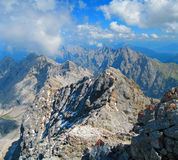Bavarian Alps. Looking over the Bavarian Alps from top of the Zugspitze mountain in Germany stock photo