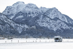 Bavarian Alps, motorhome speeding Stock Photography