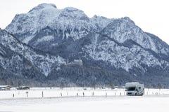 Bavarian Alps, motorhome speeding stock photography