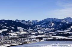Bavarian alps in winter. Village bad hindelang, germany, in the bavarian alps in winter Stock Photos