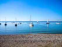 Bavarian Ammersee with boats on the lake Stock Photography