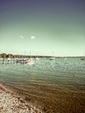 Bavarian Ammersee with boats on the lake Stock Photos