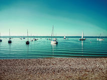 Bavarian Ammersee with boats on the lake Royalty Free Stock Photography