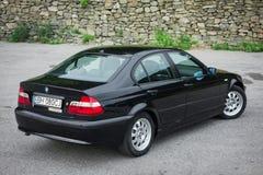 Bavarian beautiful historic car - black metallic paing and original alloy wheels. royalty free stock photo