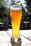 Bavarian beer in a beer garden. Wheat beer in a beergarden Stock Images
