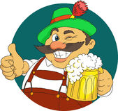 Bavarian. With beer. Cartoon. Vector royalty free illustration