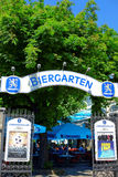 Bavarian beer garden Lowenbrau. The popular beer garden Lowenbrau in Munich (Bavaria, Germany) invites for public viewing of the European Football Royalty Free Stock Photo