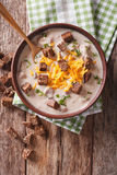 Bavarian beer soup with cheese and bacon close up in a bowl. ver Stock Image