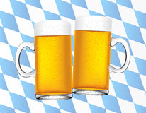 Bavarian beers background. Bavaria flag as background with two beer cans on front, use to october fest in munich and travels in germany Royalty Free Stock Photo