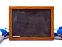 Bavarian black board. Front view of a black board with a pine frame Royalty Free Stock Images