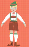 Bavarian boy in traditional costume. Illustyration of a bavarian boy in a germanic  travel costume tam. Fun young graphic childrens illustration. Traditional Stock Image